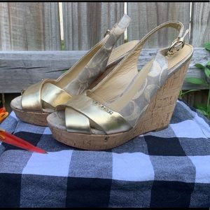 """Coach """"Jessy"""" Wedge Sandals, size 6, gold and cork"""